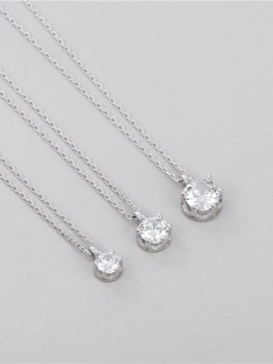 Small: single diamond six claw Necklace 925 Sterling Silver Cubic Zirconia Geometric Minimalist Necklace