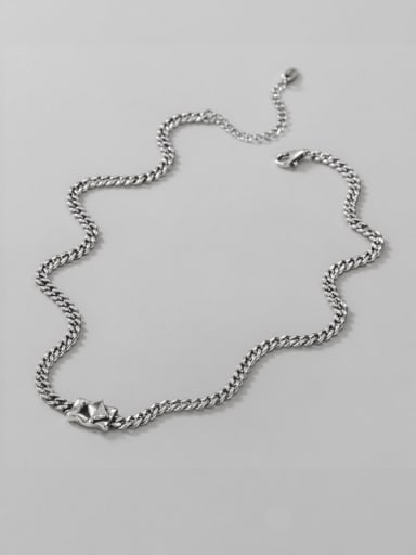 925 Sterling Silver Cubic Zirconia Geometric Vintage Necklace