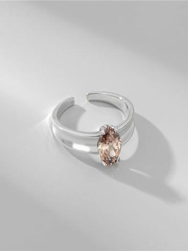 925 Sterling Silver Cubic Zirconia Geometric Minimalist Band Ring