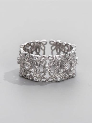 925 Sterling Silver Rhinestone Flower Vintage Band Ring