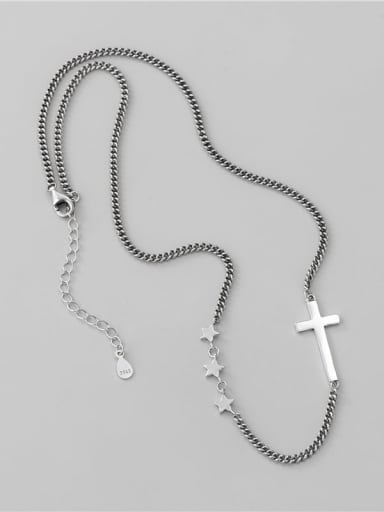 925 Sterling Silver Cross Vintage Hollow Chain Necklace