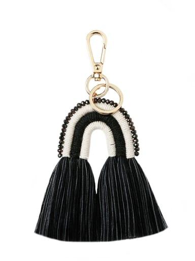 Black k68205 Alloy Bead Cotton Rope Rainbow Hand-Woven Bohemia Bag Pendant