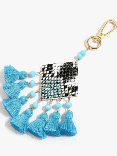 K68093 Alloy Bead Leather Tassel Bohemia Hand-Woven  Bag Pendant