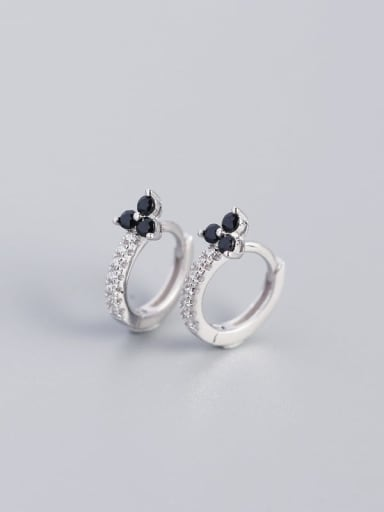 White Gold Black Stone 925 Sterling Silver Cubic Zirconia Flower Dainty Huggie Earring