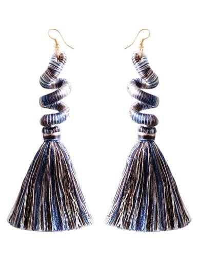 E68842 black Alloy Cotton Rope Tassel Bohemia Hand-Woven Drop Earring