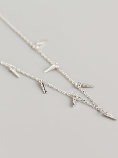 Platinum 925 Sterling Silver Cubic Zirconia Geometric Minimalist Necklace