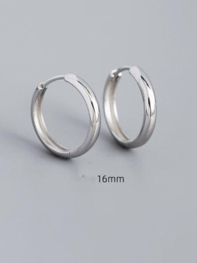 16mm white gold 925 Sterling Silver Geometric Minimalist Huggie Earring
