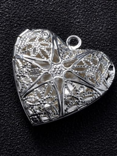 silvery Copper Heart Charm Height : 25.5mm , Width: 26mm