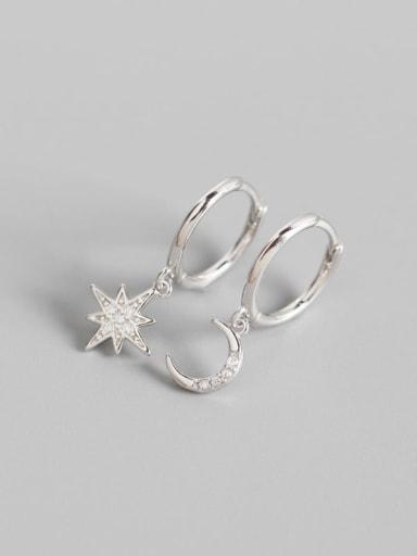 Platinum 925 Sterling Silver Rhinestone White Star Trend Huggie Earring