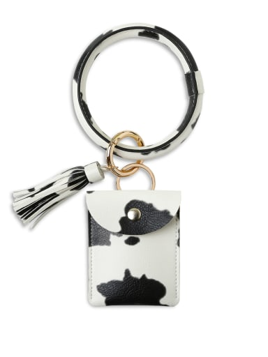 Cow k68198 Alloy Leather Coin purse Hand Ring Key Chain