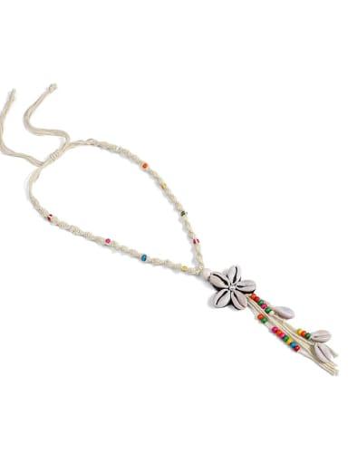 Beibai n70251 Pearl Cotton Tassel Hand-Woven  Flower Lariat Necklace