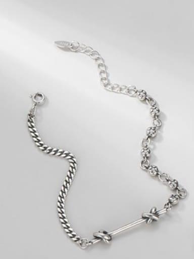 Bracelet (5.9G) 925 Sterling Silver Minimalist Irregular  Braclete and Necklace Set