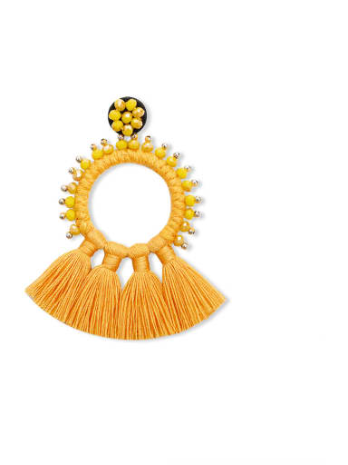 Yellow e68832 Alloy Bead Cotton Rope Tassel Bohemia Hand-Woven Drop Earring
