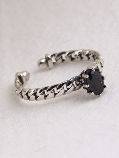 925 Sterling Silver Cubic Zirconia Black Geometric Vintage Solitaire Ring