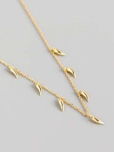 Gold 925 Sterling Silver Irregular  Minimalist Chili  Necklace