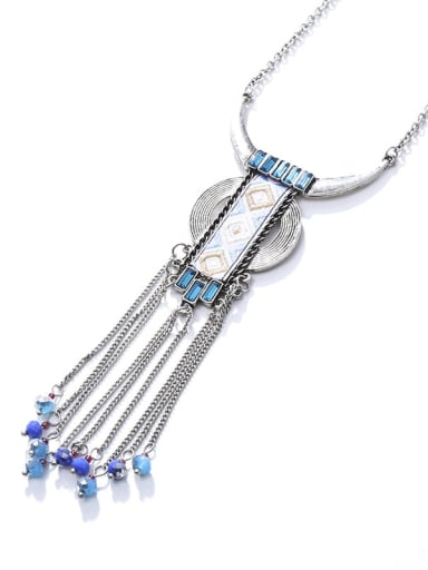 silver Alloy Crystal Fabric Geometric Ethnic Hand-Woven Long Strand Necklace