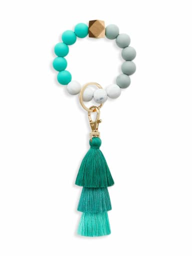 Turquoise k68228 Alloy  Cotton Rope Silicone Bead Tassel Bracelet /Key Chain