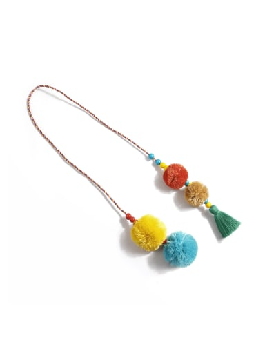 Green color k68110 Bead Cotton Rope  Tassel Artisan Hand-Woven  Bag Pendant