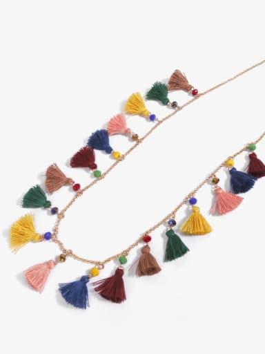 Dark n70151 Alloy Cotton Rope  Bohemia Hand-Woven  Tassel Necklace