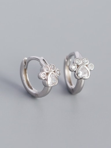 Platinum 925 Sterling Silver Cubic Zirconia Heart Vintage Huggie Earring