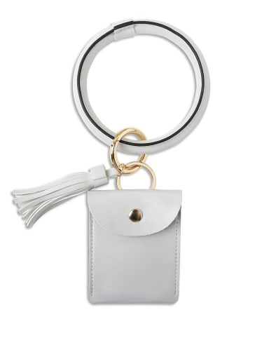 Grey k68198 Alloy Leather Coin purse Hand Ring Key Chain