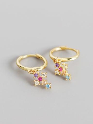 Gold 925 Sterling Silver Cubic Zirconia Multi Color Cross Trend Huggie Earring
