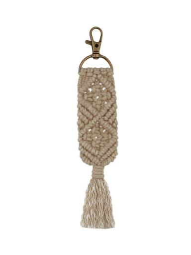 K68150 Camel Alloy Cotton Rope  Tassel Bohemia Hand-Woven Bag Pendant