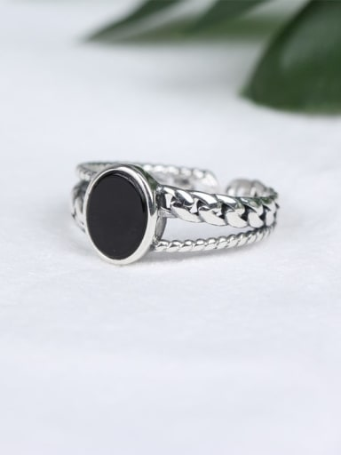 925 Sterling Silver Agate Black Geometric Vintage Band Ring
