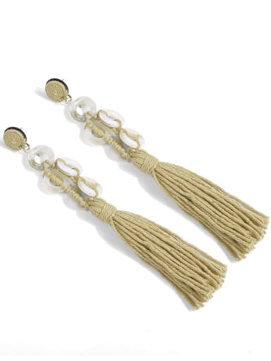 E68740 Alloy Tassel Shell Cotton Rope Geometric Bohemia Hand-Woven  Drop Earring