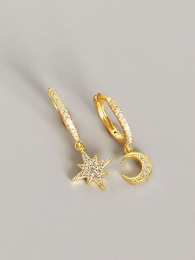 2#Gold 925 Sterling Silver Rhinestone White Star Trend Huggie Earring