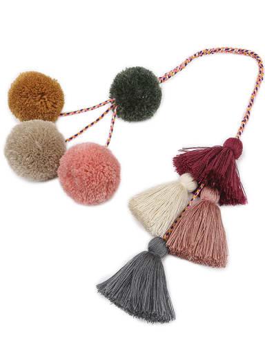 K68065 dark color Alloy Cotton Rope Tassel Hand-Woven Bohemia Bag Pendant