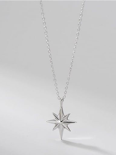 925 Sterling Silver  Minimalist Six Pointed Star Pendant Necklace