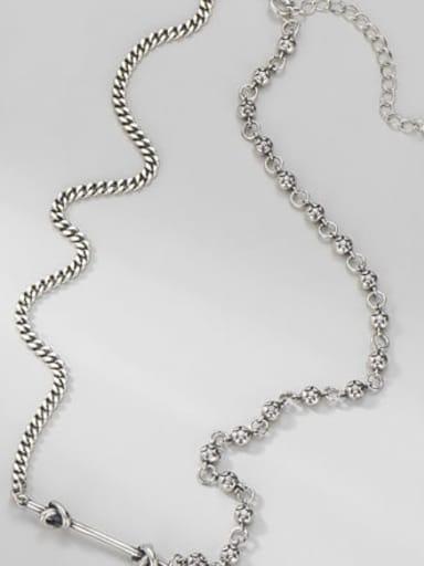 Necklace (12.2g) 925 Sterling Silver Minimalist Irregular  Braclete and Necklace Set