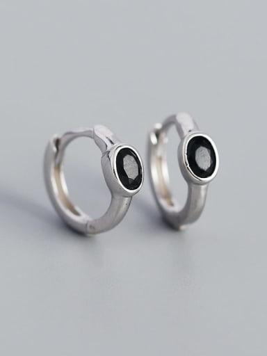 Platinum (Black stone) 925 Sterling Silver Cubic Zirconia Geometric Minimalist Huggie Earring