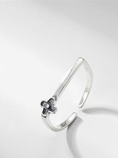 Floret ring 925 Sterling Silver Rhinestone Flower Vintage Band Ring