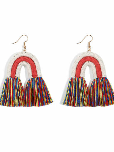 Color e68821 Alloy Cotton Rope Tassel Bohemia Hand-Woven Drop Earring