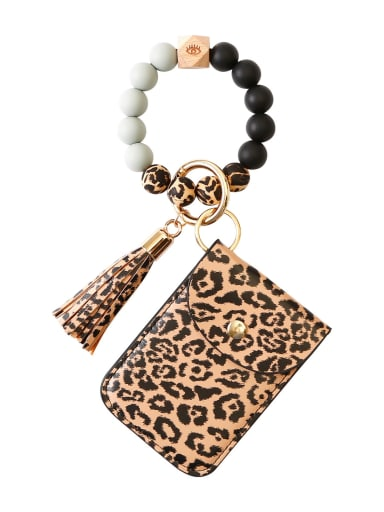 Alloy Silicone Beads Leather Coin Purse Bracelet /Key Chain