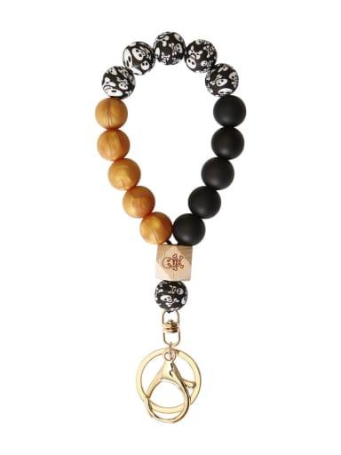 K Khaki Silicone Beads + Skull / leopard Beech Bracelet /Key Chain
