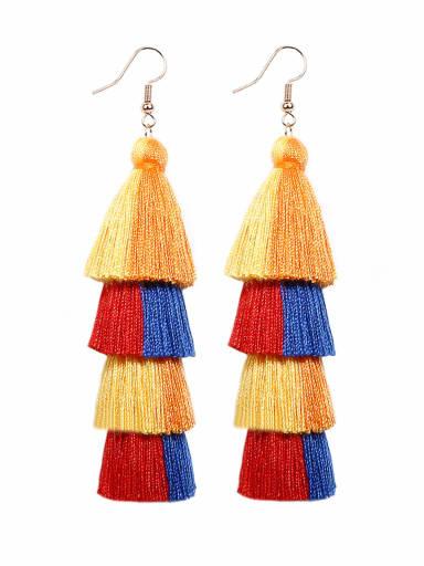 E68794 Alloy Cotton Rope Tassel Bohemia Hand-Woven Drop Earring