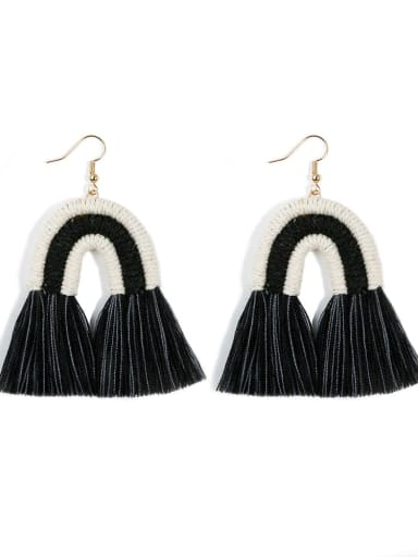 E68821 Alloy Cotton Rope Tassel Bohemia Hand-Woven Drop Earring