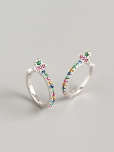 3#(Color Stone)White Gold 925 Sterling Silver Cubic Zirconia Multi Color Geometric Trend Huggie Earring