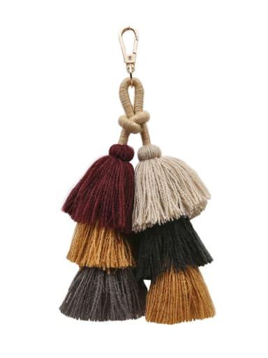 Red k68068 Alloy Cotton Rope Tassel Bohemia Hand-Woven  Bag Pendant