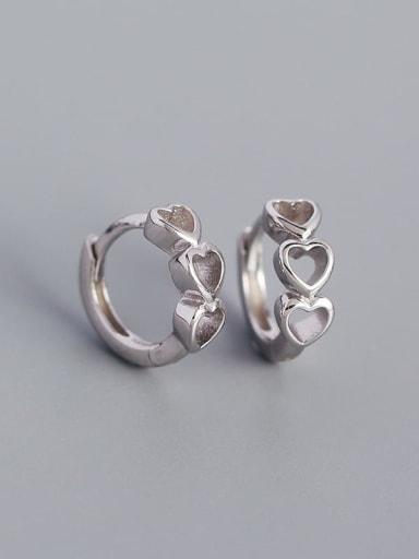 Platinum 925 Sterling Silver Heart Minimalist Huggie Earring