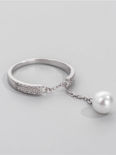 925 Sterling Silver Imitation Pearl Tassel Vintage Band Ring