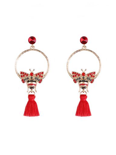 E68804 Alloy Cotton Rope Tassel Bohemia Hand-Woven Drop Earring