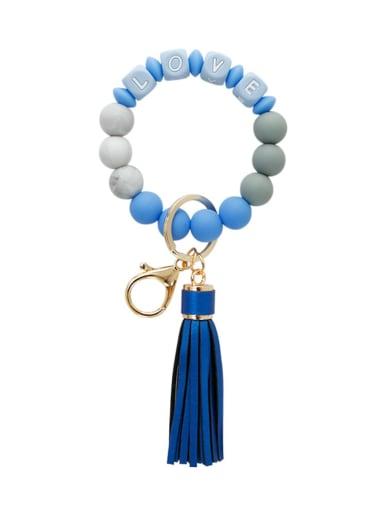 K68267 Alloy Silicone Bead Tassel Bracelet /Key Chain
