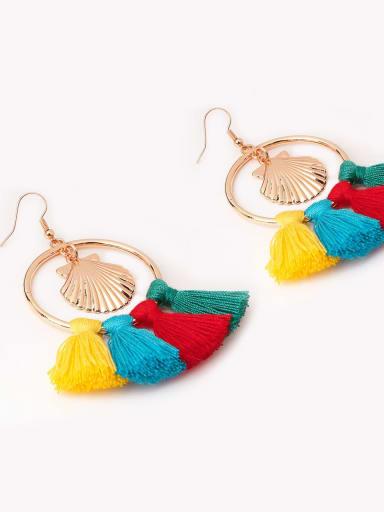 Green e68790 Alloy Cotton Rope Tassel Bohemia Hand-Woven Drop Earring