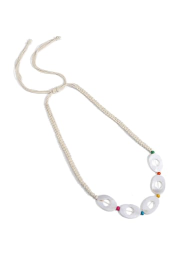 N70250 Shell White Cotton Rope  Geometric Bohemia Hand-Woven  Long Strand Necklace