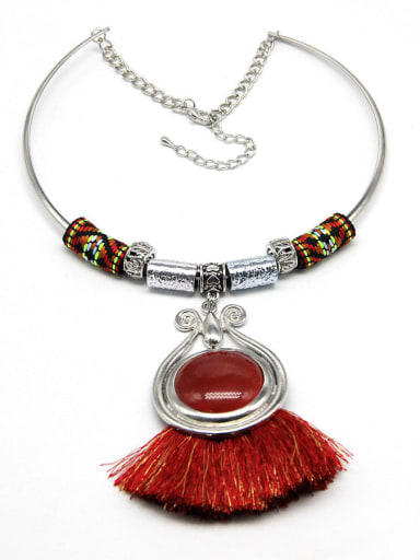 gules Alloy Cotton Rope Tassel Hand-Woven Vintage Choker Necklace