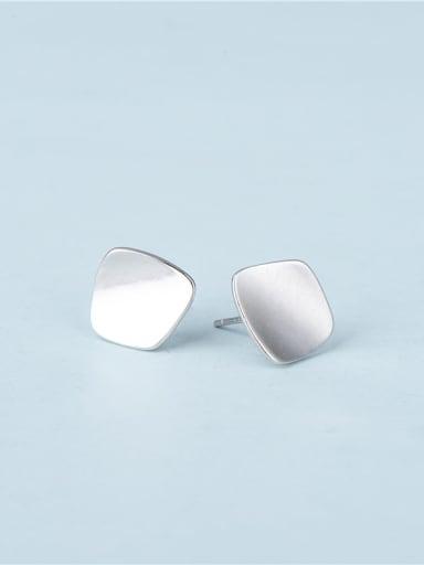 Platinum 925 Sterling Silver Geometric Minimalist Stud Earring